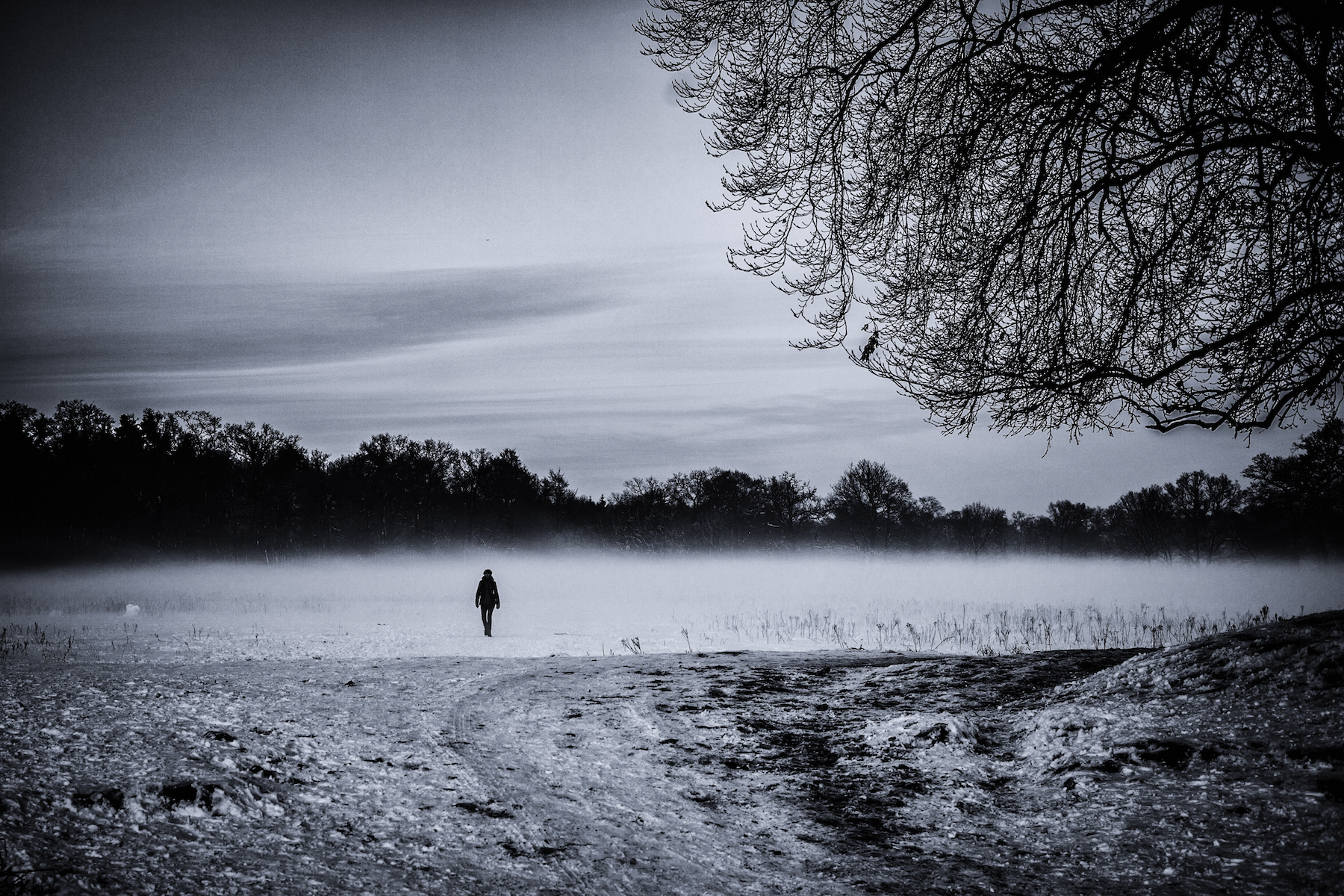 Woman walking from lake