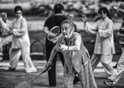 Old woman badminton, China